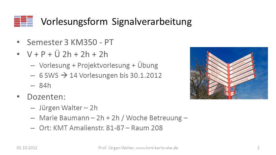 Vorlesungsform Signalverarbeitung Semester 3 KM350 - PT V + P + Ü 2h + 2h + 2h – Vorlesung + Projektvorlesung + Übung – 6 SWS 14 Vorlesungen bis 30.1.