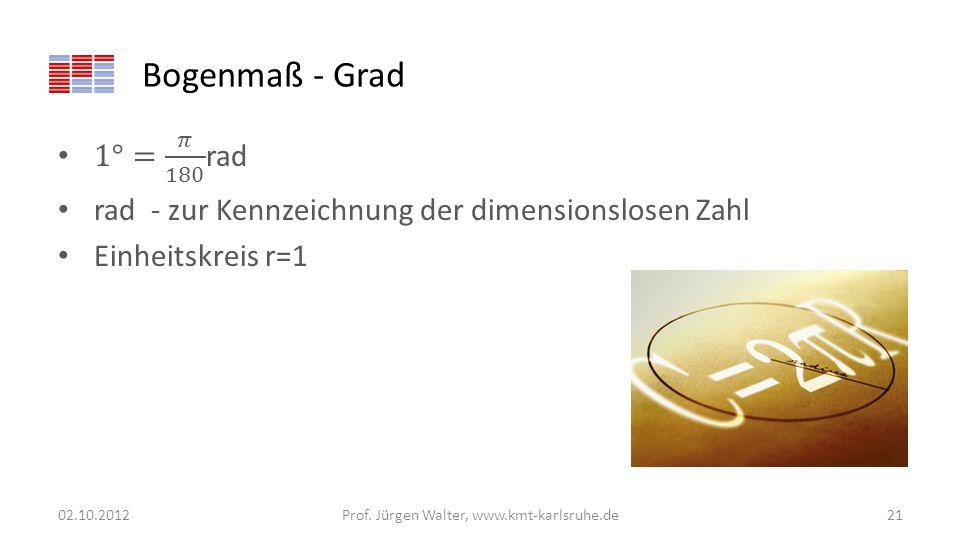 Bogenmaß - Grad 02.10.2012Prof. Jürgen Walter, www.kmt-karlsruhe.de21