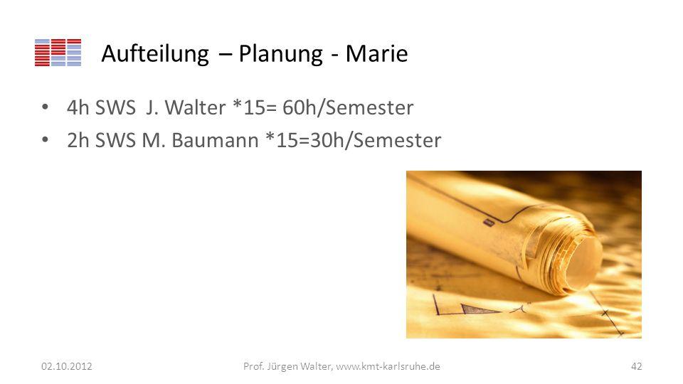 Aufteilung – Planung - Marie 4h SWS J. Walter *15= 60h/Semester 2h SWS M. Baumann *15=30h/Semester 02.10.2012Prof. Jürgen Walter, www.kmt-karlsruhe.de