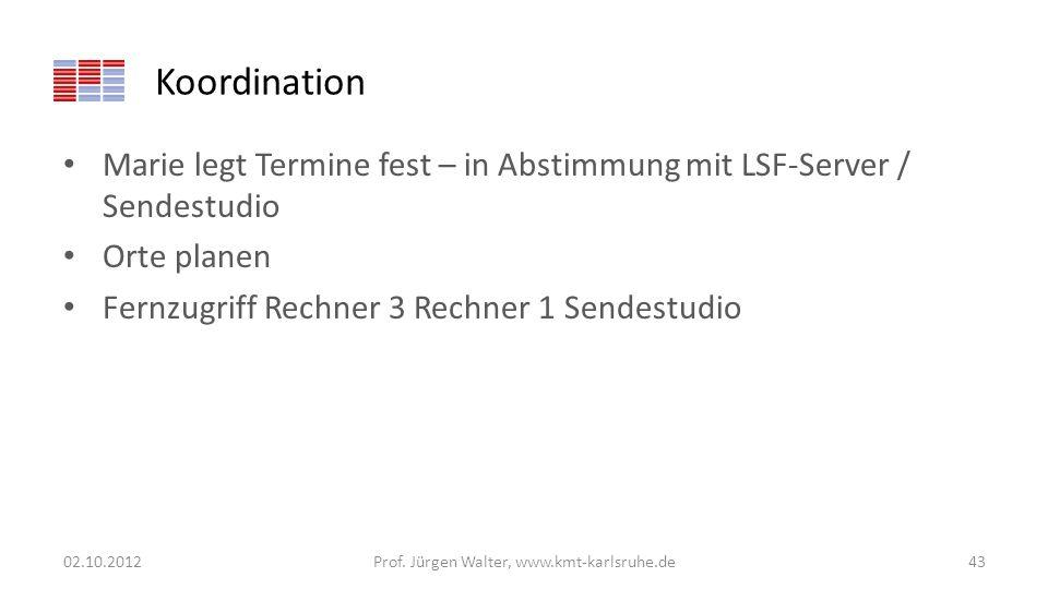 Koordination Marie legt Termine fest – in Abstimmung mit LSF-Server / Sendestudio Orte planen Fernzugriff Rechner 3 Rechner 1 Sendestudio 02.10.2012Pr