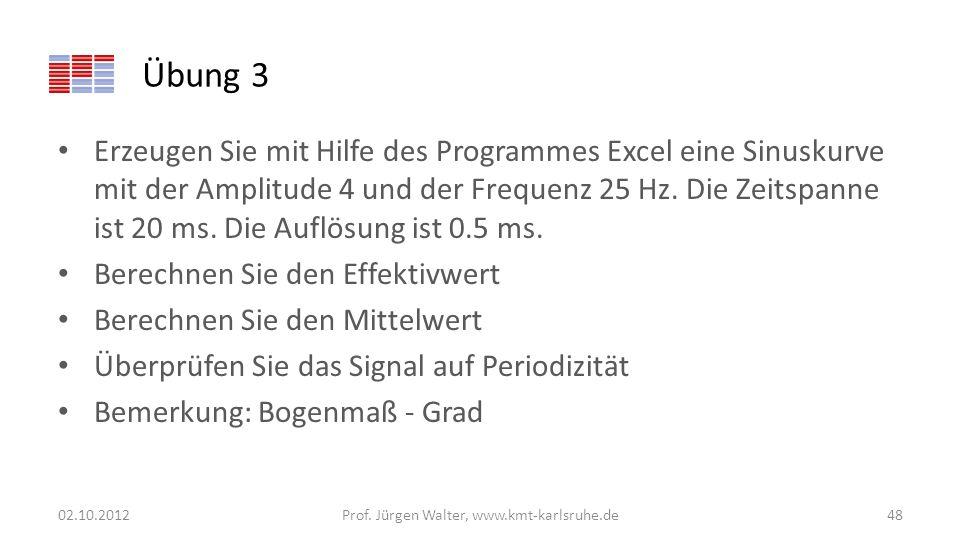 Übung 3 Erzeugen Sie mit Hilfe des Programmes Excel eine Sinuskurve mit der Amplitude 4 und der Frequenz 25 Hz. Die Zeitspanne ist 20 ms. Die Auflösun