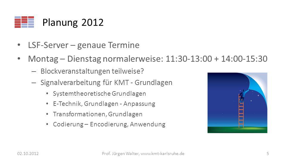 Planung 2012 LSF-Server – genaue Termine Montag – Dienstag normalerweise: 11:30-13:00 + 14:00-15:30 – Blockveranstaltungen teilweise? – Signalverarbei