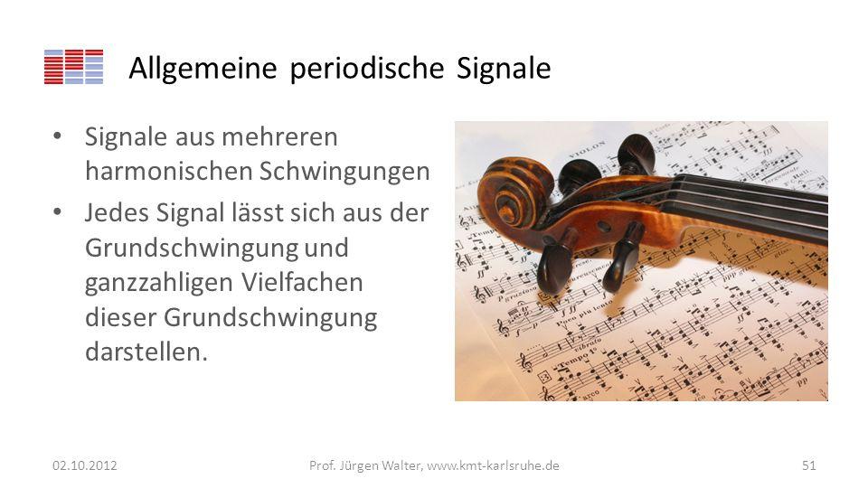 Allgemeine periodische Signale Signale aus mehreren harmonischen Schwingungen Jedes Signal lässt sich aus der Grundschwingung und ganzzahligen Vielfac
