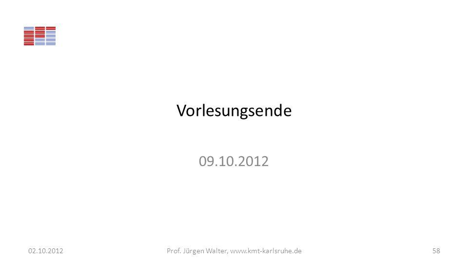 Vorlesungsende 09.10.2012 02.10.2012Prof. Jürgen Walter, www.kmt-karlsruhe.de58
