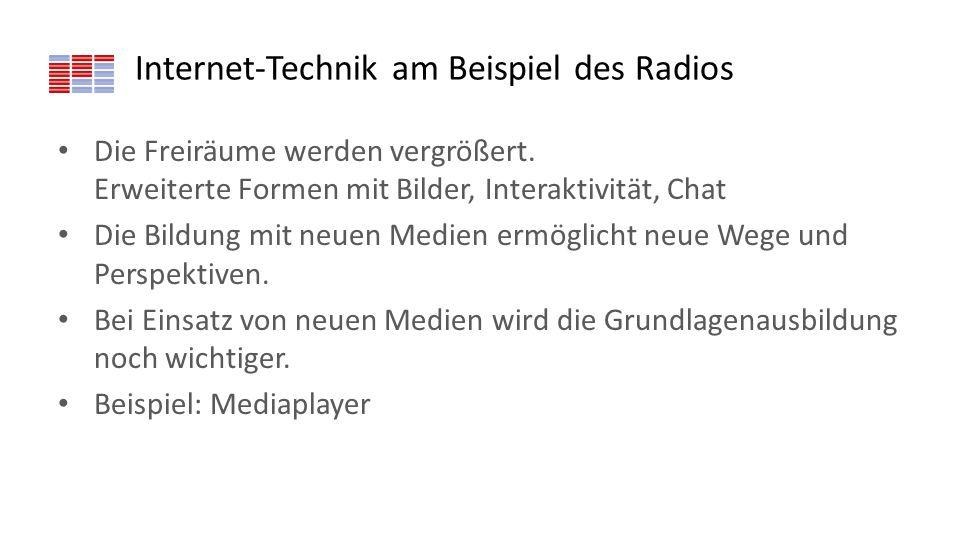 Internet-Technik am Beispiel des Radios Die Freiräume werden vergrößert. Erweiterte Formen mit Bilder, Interaktivität, Chat Die Bildung mit neuen Medi