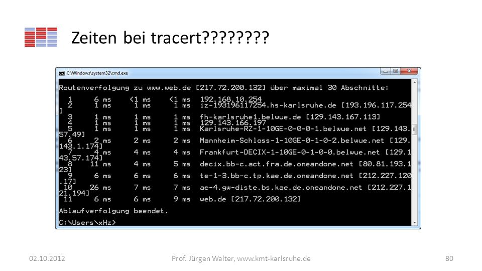 Zeiten bei tracert???????? 02.10.2012Prof. Jürgen Walter, www.kmt-karlsruhe.de80