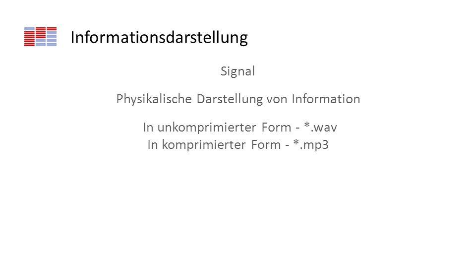 Informationsdarstellung Signal Physikalische Darstellung von Information In unkomprimierter Form - *.wav In komprimierter Form - *.mp3