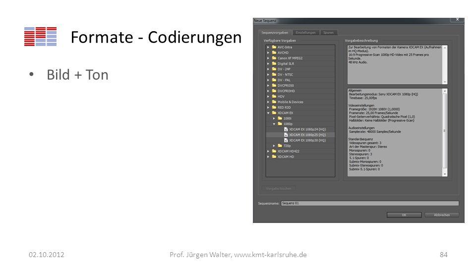 Formate - Codierungen Bild + Ton 02.10.2012Prof. Jürgen Walter, www.kmt-karlsruhe.de84
