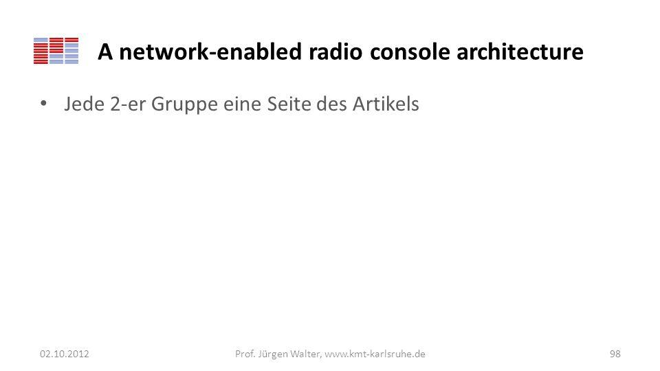 A network-enabled radio console architecture Jede 2-er Gruppe eine Seite des Artikels 02.10.2012Prof. Jürgen Walter, www.kmt-karlsruhe.de98