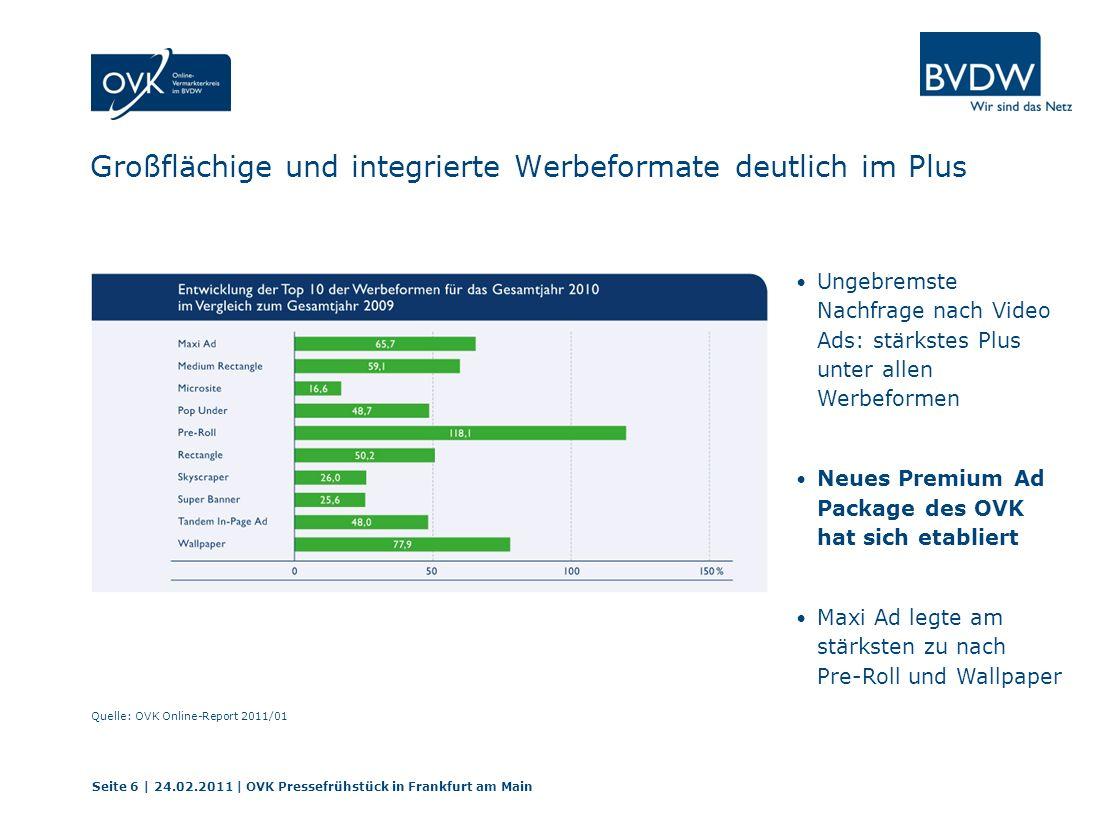 Wachstumstreiber für 2011 Standards – Standards - Standards Veröffentlichung der Spezifikationen für Online-Videowerbung Erweiterung des Premium Ad Package Mehr Standards für technische Messungen Seite 17 | 24.02.2011 | OVK Pressefrühstück in Frankfurt am Main
