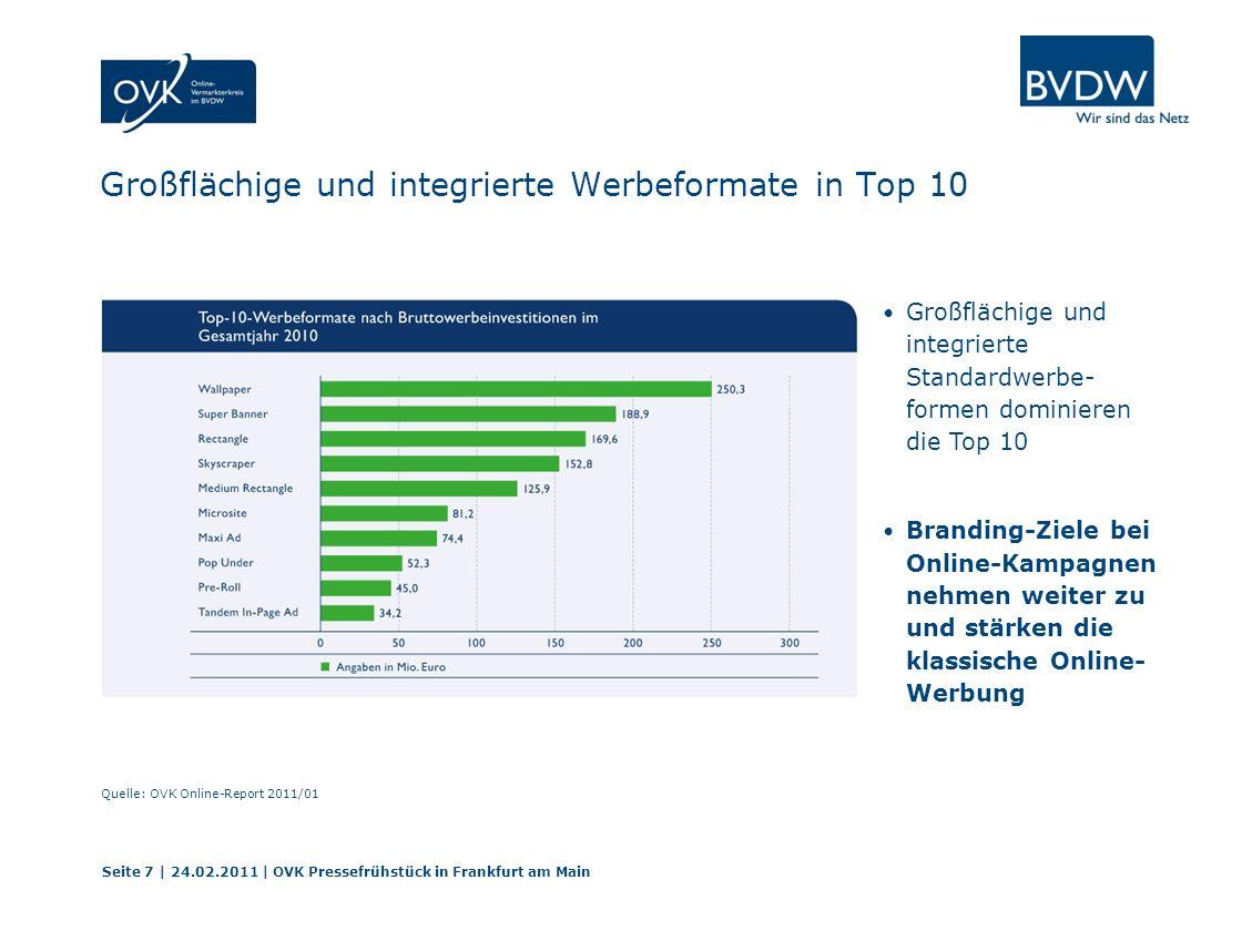Großflächige und integrierte Werbeformate in Top 10 Seite 7 | 24.02.2011 | OVK Pressefrühstück in Frankfurt am Main Quelle: OVK Online-Report 2011/01 Großflächige und integrierte Standardwerbe- formen dominieren die Top 10 Branding-Ziele bei Online-Kampagnen nehmen weiter zu und stärken die klassische Online- Werbung