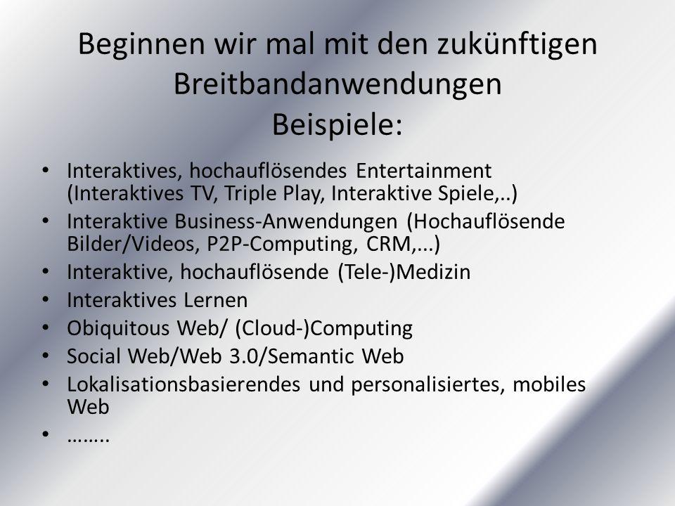 Beginnen wir mal mit den zukünftigen Breitbandanwendungen Beispiele: Interaktives, hochauflösendes Entertainment (Interaktives TV, Triple Play, Interaktive Spiele,..) Interaktive Business-Anwendungen (Hochauflösende Bilder/Videos, P2P-Computing, CRM,...) Interaktive, hochauflösende (Tele-)Medizin Interaktives Lernen Obiquitous Web/ (Cloud-)Computing Social Web/Web 3.0/Semantic Web Lokalisationsbasierendes und personalisiertes, mobiles Web ……..