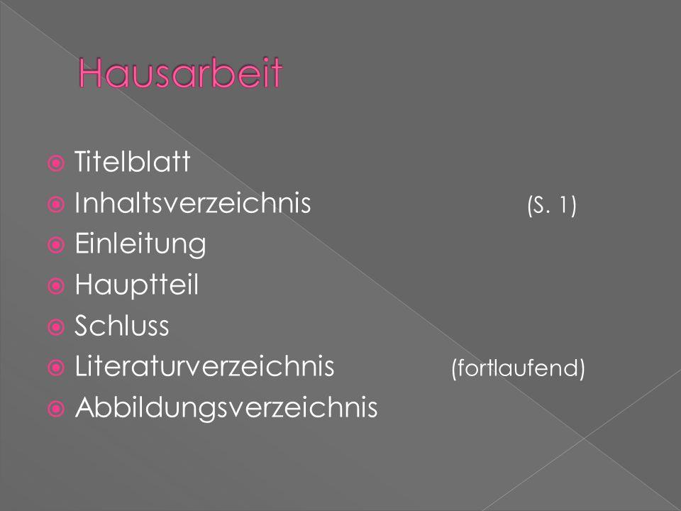 Titelblatt Inhaltsverzeichnis (S. 1) Einleitung Hauptteil Schluss Literaturverzeichnis (fortlaufend) Abbildungsverzeichnis