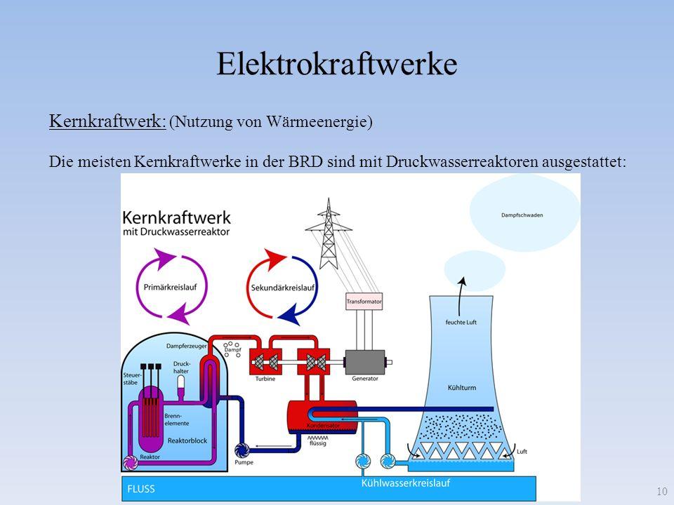 Elektrokraftwerke 10 Die meisten Kernkraftwerke in der BRD sind mit Druckwasserreaktoren ausgestattet: Kernkraftwerk: (Nutzung von Wärmeenergie)