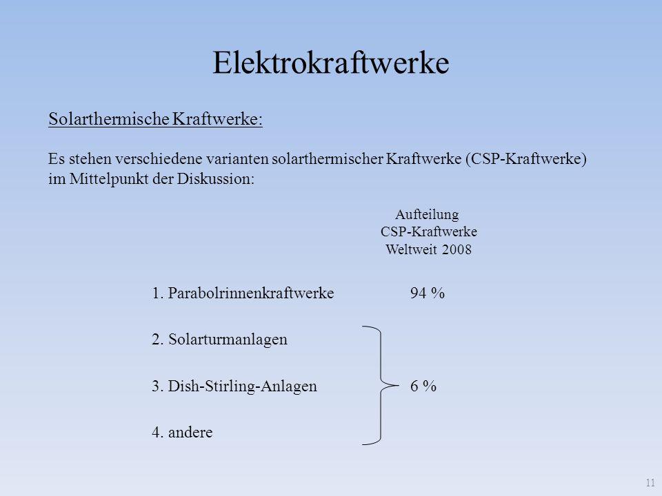 Elektrokraftwerke 11 Es stehen verschiedene varianten solarthermischer Kraftwerke (CSP-Kraftwerke) im Mittelpunkt der Diskussion: Solarthermische Kraf