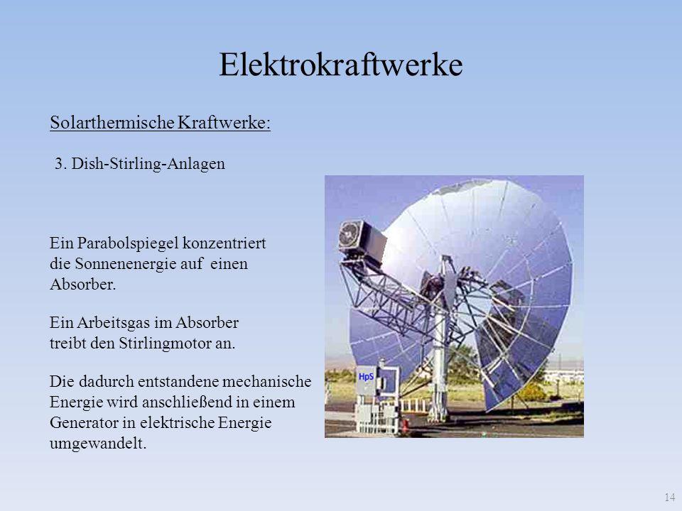 Elektrokraftwerke 14 Solarthermische Kraftwerke: 3. Dish-Stirling-Anlagen Ein Parabolspiegel konzentriert die Sonnenenergie auf einen Absorber. Ein Ar