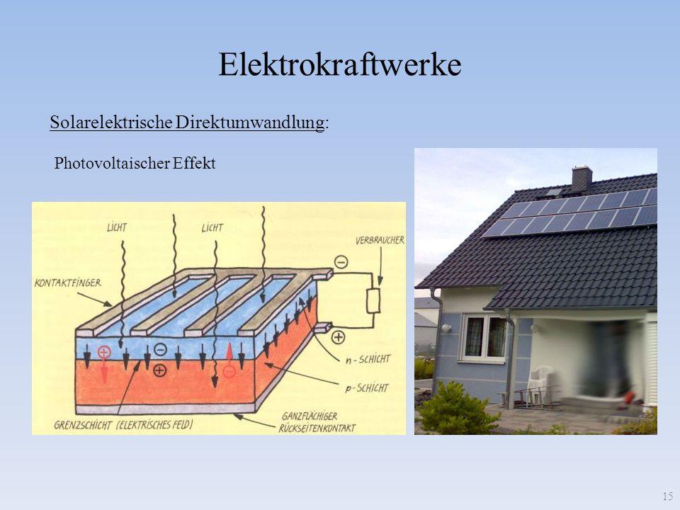 Elektrokraftwerke 15 Solarelektrische Direktumwandlung: Photovoltaischer Effekt