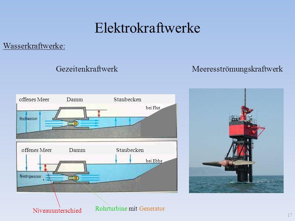 Elektrokraftwerke 17 Wasserkraftwerke: MeeresströmungskraftwerkGezeitenkraftwerk offenes Meer Damm Staubecken bei Flut bei Ebbe Niveauunterschied Rohr