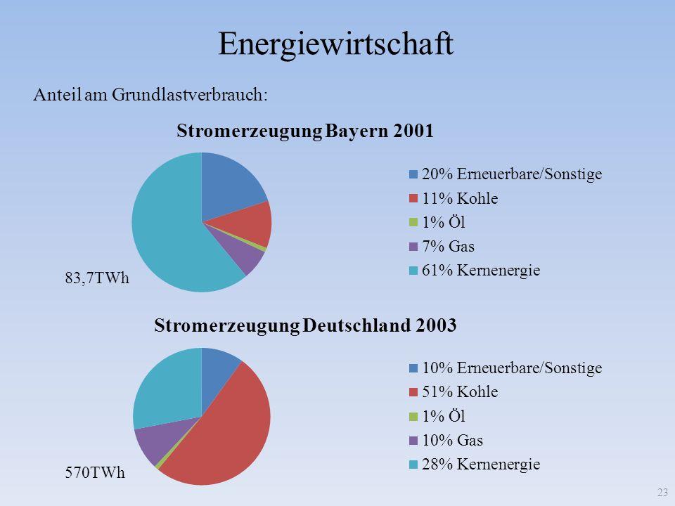 Energiewirtschaft 23 83,7TWh 570TWh Anteil am Grundlastverbrauch: