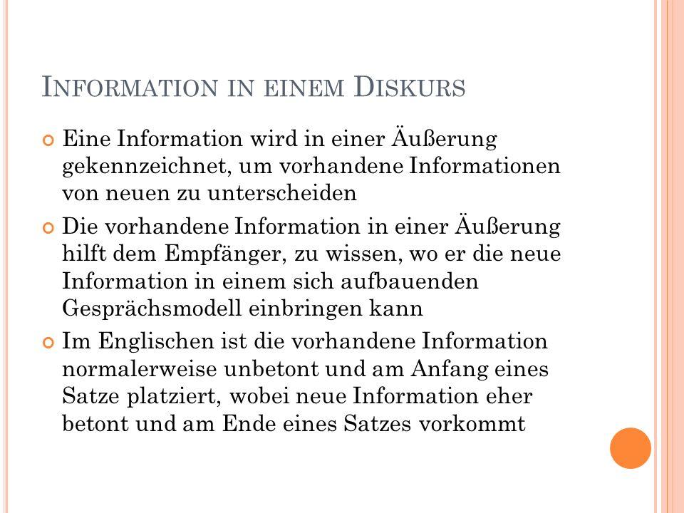 I NFORMATION IN EINEM D ISKURS Eine Information wird in einer Äußerung gekennzeichnet, um vorhandene Informationen von neuen zu unterscheiden Die vorhandene Information in einer Äußerung hilft dem Empfänger, zu wissen, wo er die neue Information in einem sich aufbauenden Gesprächsmodell einbringen kann Im Englischen ist die vorhandene Information normalerweise unbetont und am Anfang eines Satze platziert, wobei neue Information eher betont und am Ende eines Satzes vorkommt