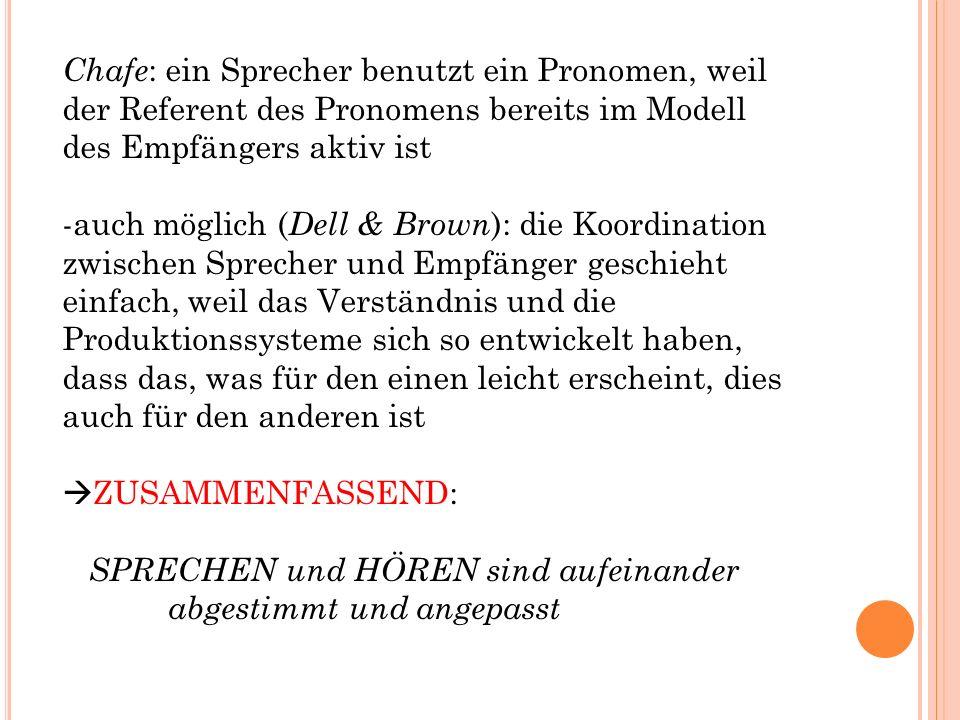 Chafe : ein Sprecher benutzt ein Pronomen, weil der Referent des Pronomens bereits im Modell des Empfängers aktiv ist -auch möglich ( Dell & Brown ):