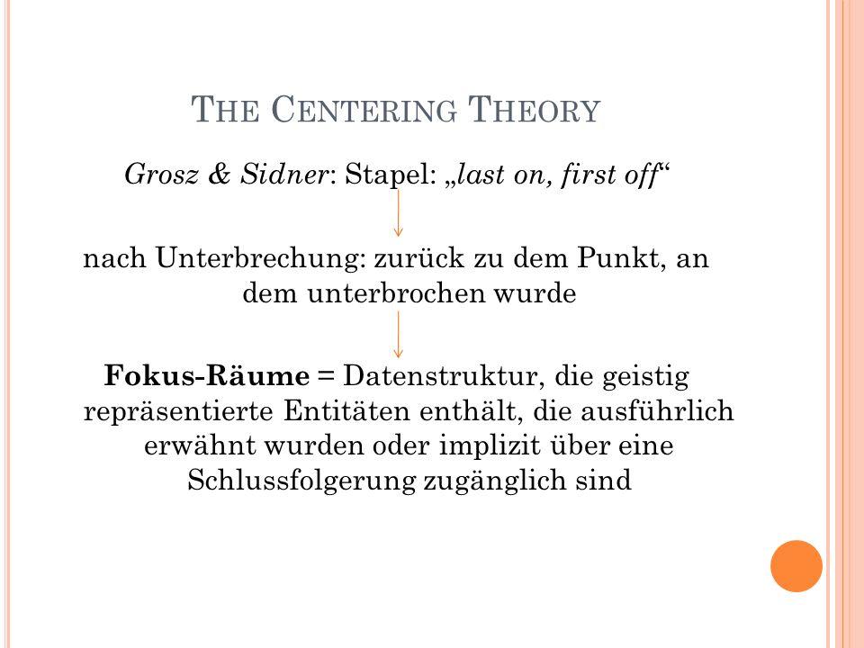 T HE C ENTERING T HEORY Grosz & Sidner : Stapel: last on, first off nach Unterbrechung: zurück zu dem Punkt, an dem unterbrochen wurde Fokus-Räume = D