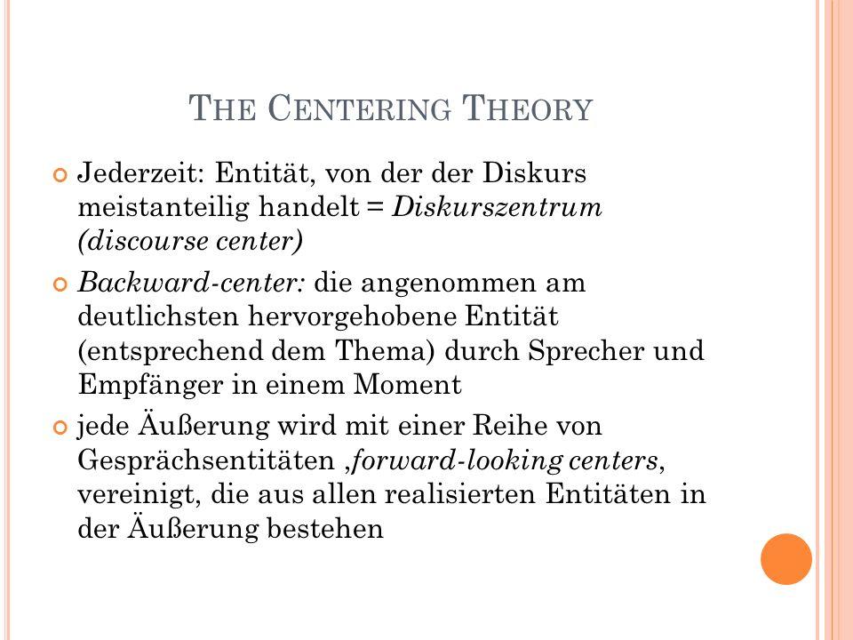 T HE C ENTERING T HEORY Jederzeit: Entität, von der der Diskurs meistanteilig handelt = Diskurszentrum (discourse center) Backward-center: die angenom