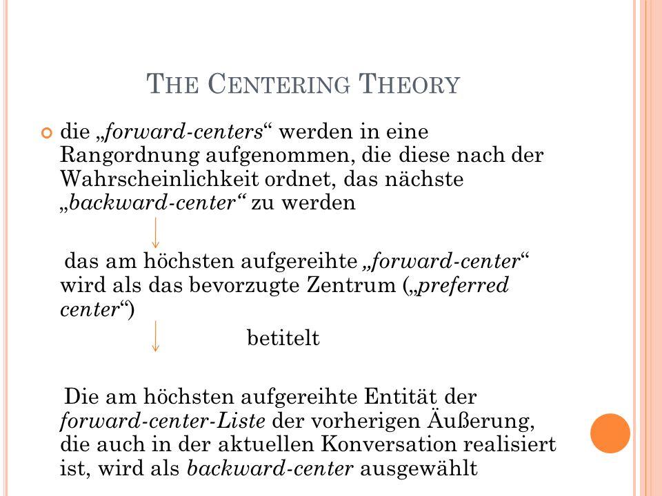 T HE C ENTERING T HEORY die forward-centers werden in eine Rangordnung aufgenommen, die diese nach der Wahrscheinlichkeit ordnet, das nächste backward-center zu werden das am höchsten aufgereihte forward-center wird als das bevorzugte Zentrum ( preferred center ) betitelt Die am höchsten aufgereihte Entität der forward-center-Liste der vorherigen Äußerung, die auch in der aktuellen Konversation realisiert ist, wird als backward-center ausgewählt