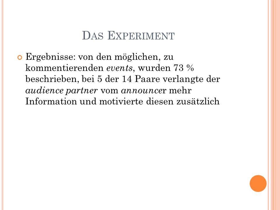 D AS E XPERIMENT Ergebnisse: von den möglichen, zu kommentierenden events, wurden 73 % beschrieben, bei 5 der 14 Paare verlangte der audience partner