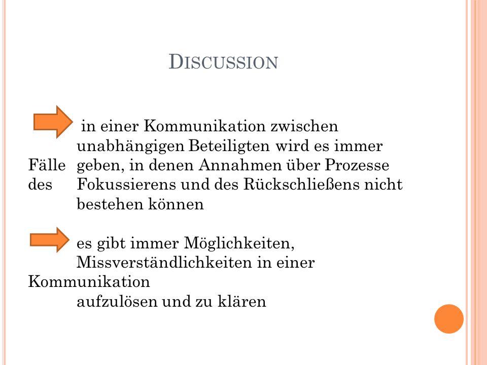 D ISCUSSION in einer Kommunikation zwischen unabhängigen Beteiligten wird es immer Fälle geben, in denen Annahmen über Prozesse des Fokussierens und d