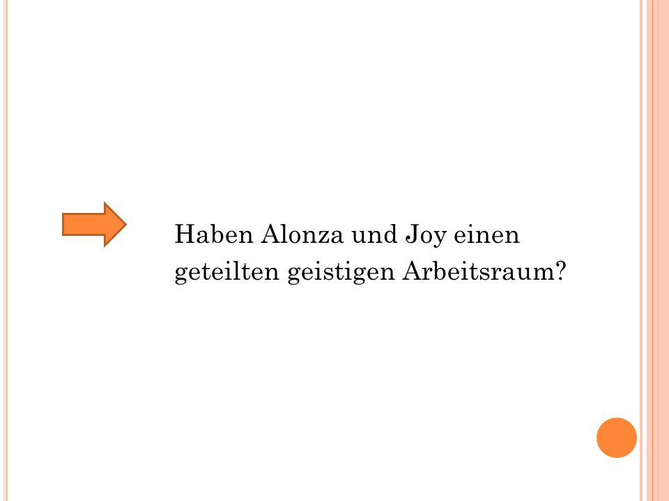 Haben Alonza und Joy einen geteilten geistigen Arbeitsraum?