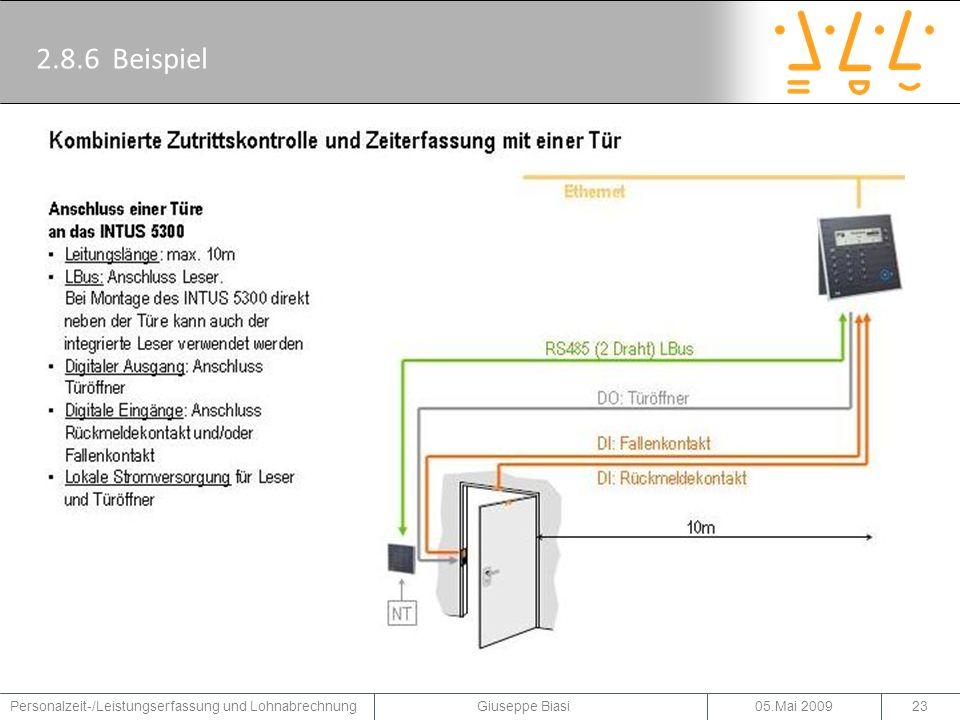 2.8.7 Beispiel 05.Mai 2009Personalzeit-/Leistungserfassung und Lohnabrechnung Giuseppe Biasi24