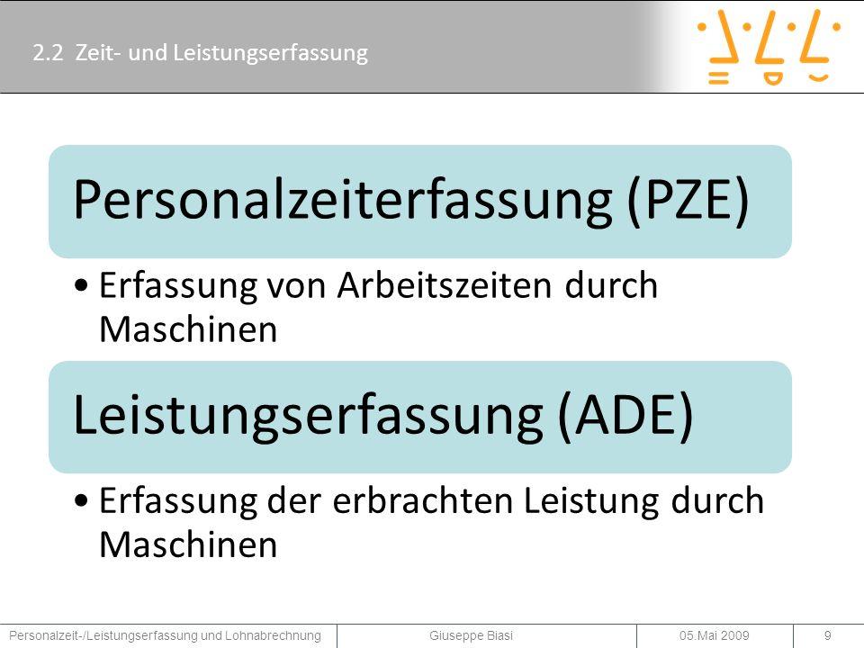 2.3 Erfassungssysteme: PZE, PZW, BDE Personalzeiterfassungssysteme (PZE-Systeme) Personalzeitwirtschaftssysteme (PZW-Systeme) Betriebsdatenerfassungssysteme (BDE-Systeme) 05.Mai 2009Personalzeit-/Leistungserfassung und Lohnabrechnung Giuseppe Biasi10