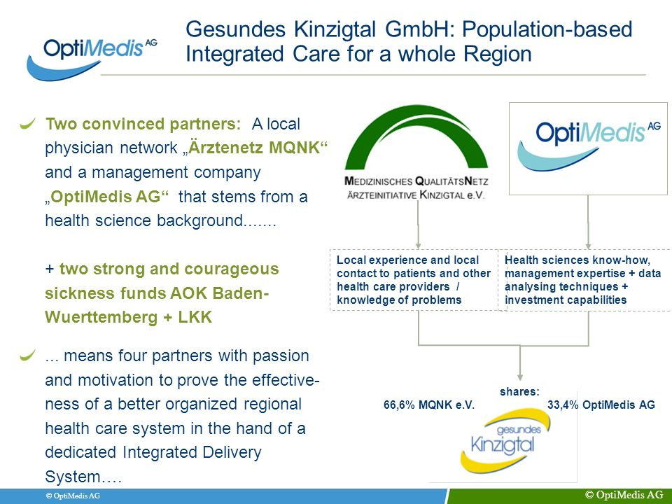 © OptiMedis AG Gesundes Kinzigtal GmbH: Population-based Integrated Care for a whole Region Two convinced partners: A local physician network Ärztenet