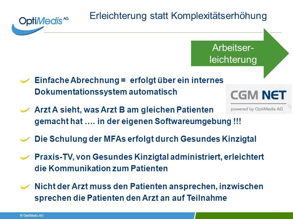© OptiMedis AG Erleichterung statt Komplexitätserhöhung 20 Einfache Abrechnung = erfolgt über ein internes Dokumentationssystem automatisch Arzt A sie
