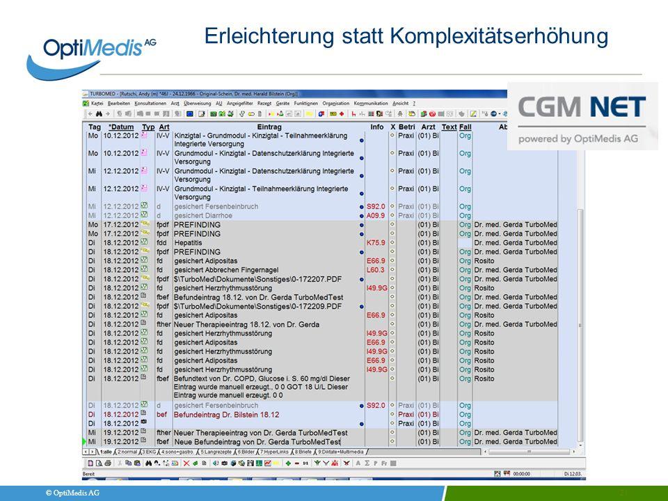 © OptiMedis AG 21 Erleichterung statt Komplexitätserhöhung