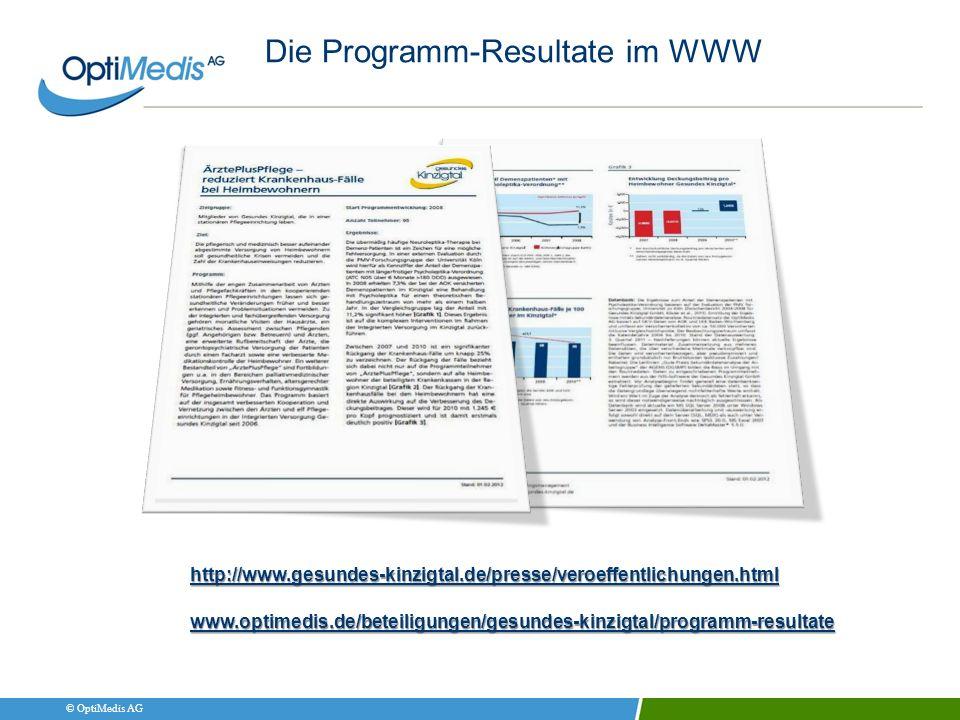 © OptiMedis AG http://www.gesundes-kinzigtal.de/presse/veroeffentlichungen.html www.optimedis.de/beteiligungen/gesundes-kinzigtal/programm-resultate D