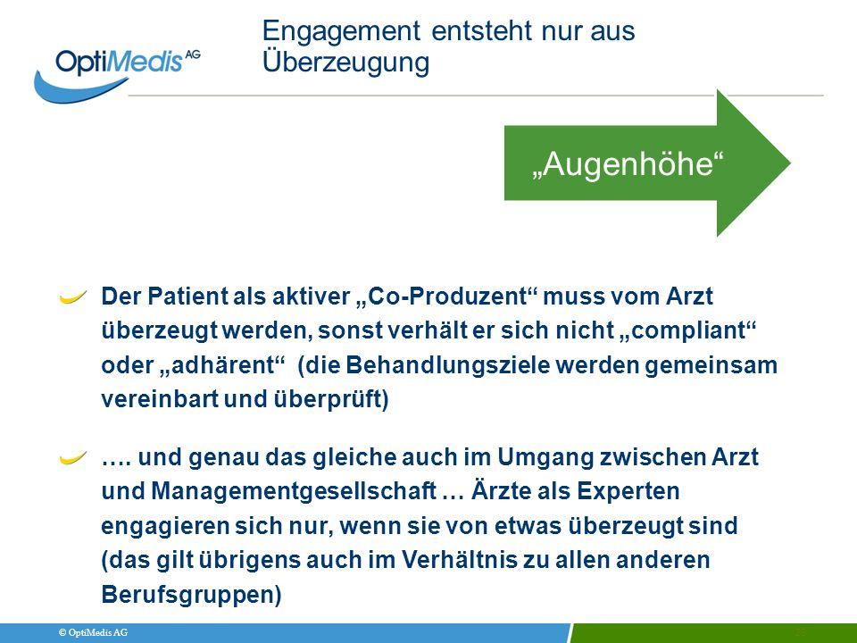 © OptiMedis AG Engagement entsteht nur aus Überzeugung 25 Augenhöhe Der Patient als aktiver Co-Produzent muss vom Arzt überzeugt werden, sonst verhält