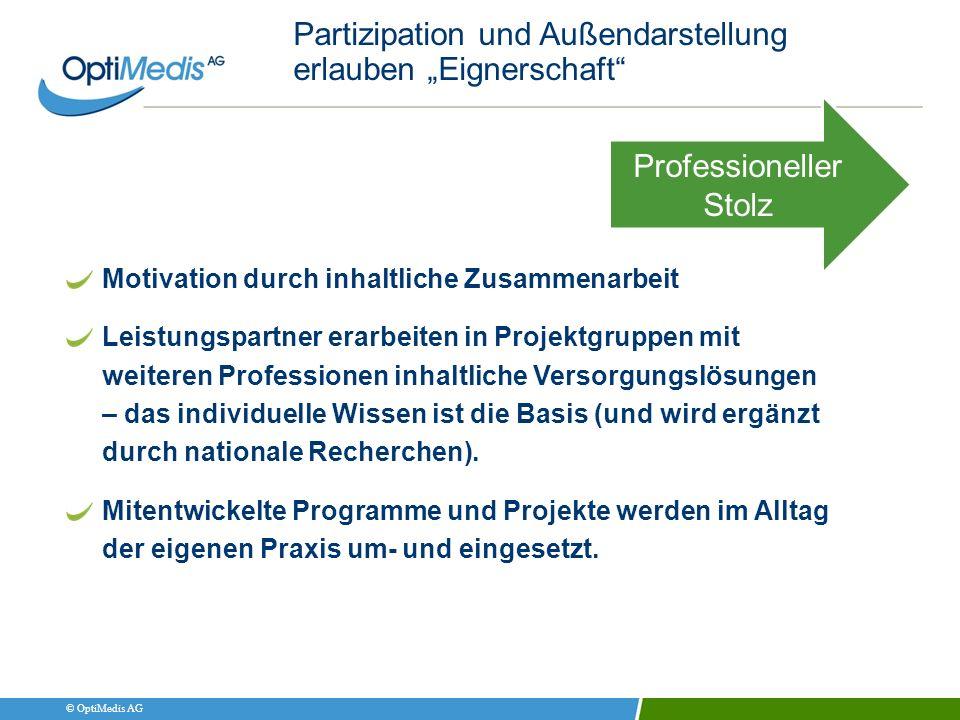 © OptiMedis AG Partizipation und Außendarstellung erlauben Eignerschaft Motivation durch inhaltliche Zusammenarbeit Leistungspartner erarbeiten in Pro