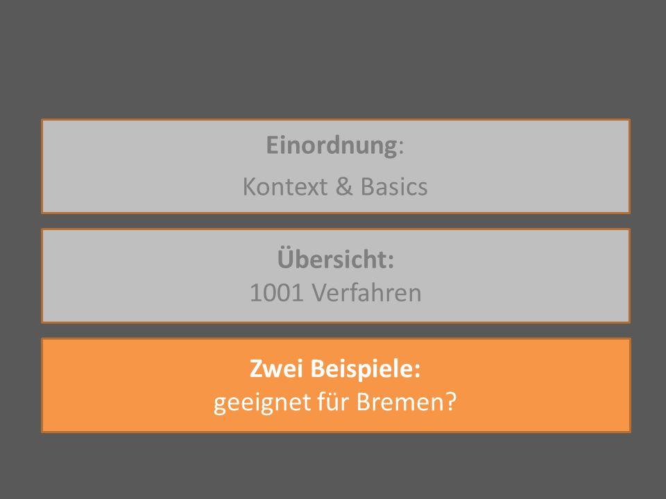 Einordnung: Kontext & Basics Übersicht: 1001 Verfahren Zwei Beispiele: geeignet für Bremen?