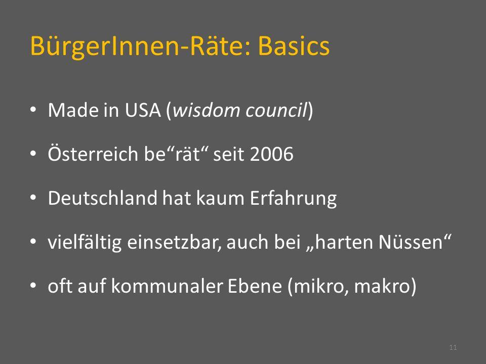 BürgerInnen-Räte: Basics Made in USA (wisdom council) Österreich berät seit 2006 Deutschland hat kaum Erfahrung vielfältig einsetzbar, auch bei harten Nüssen oft auf kommunaler Ebene (mikro, makro) 11