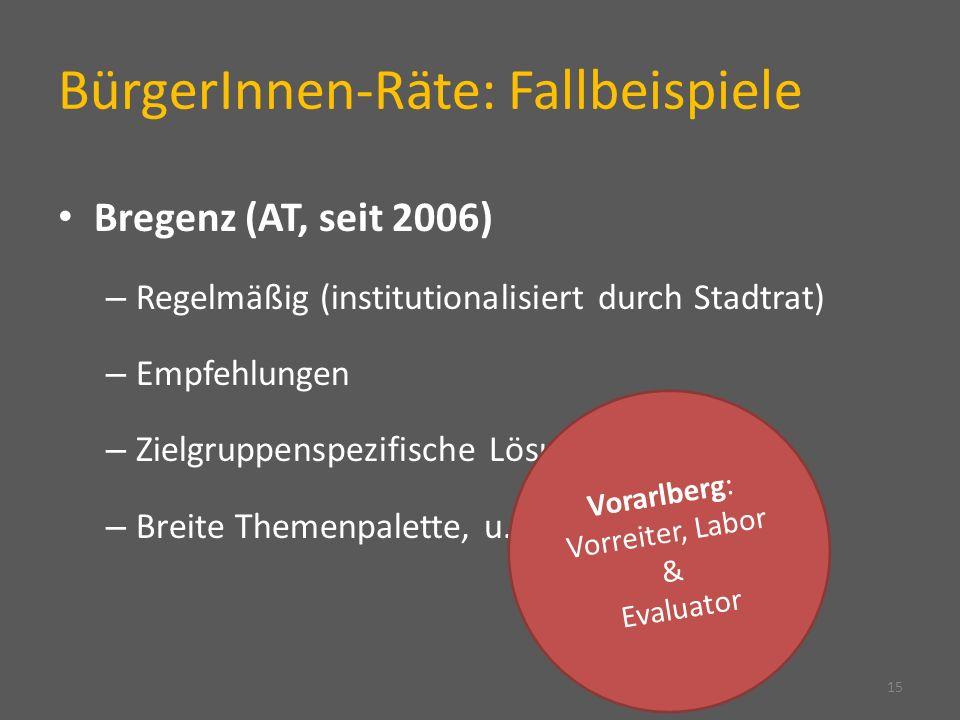 BürgerInnen-Räte: Fallbeispiele Bregenz (AT, seit 2006) – Regelmäßig (institutionalisiert durch Stadtrat) – Empfehlungen – Zielgruppenspezifische Lösungen – Breite Themenpalette, u.a.