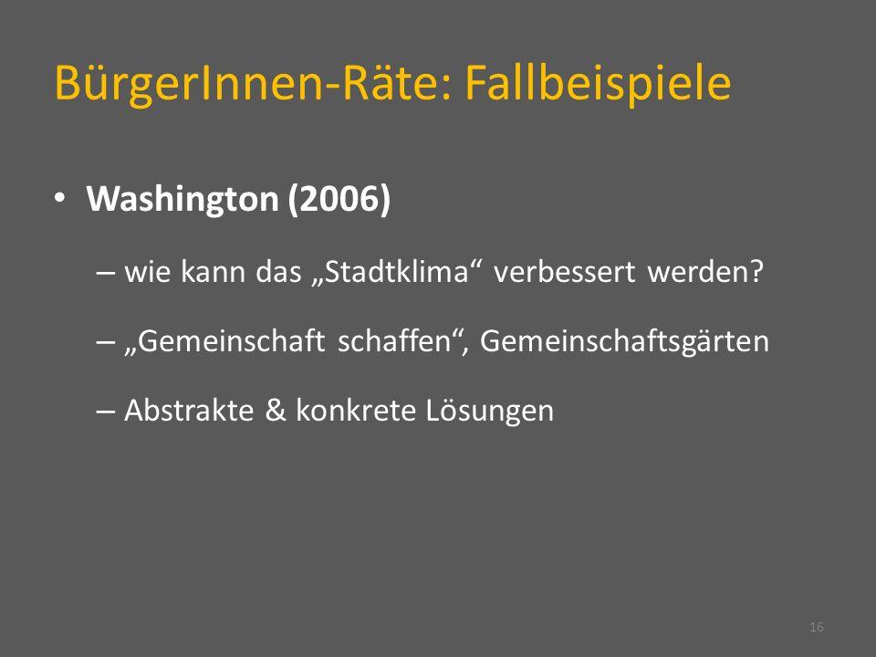 BürgerInnen-Räte: Fallbeispiele Washington (2006) – wie kann das Stadtklima verbessert werden.