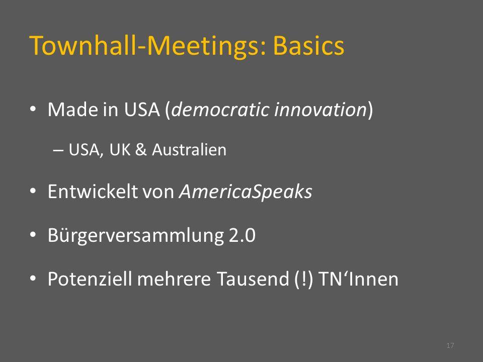Townhall-Meetings: Basics Made in USA (democratic innovation) – USA, UK & Australien Entwickelt von AmericaSpeaks Bürgerversammlung 2.0 Potenziell meh