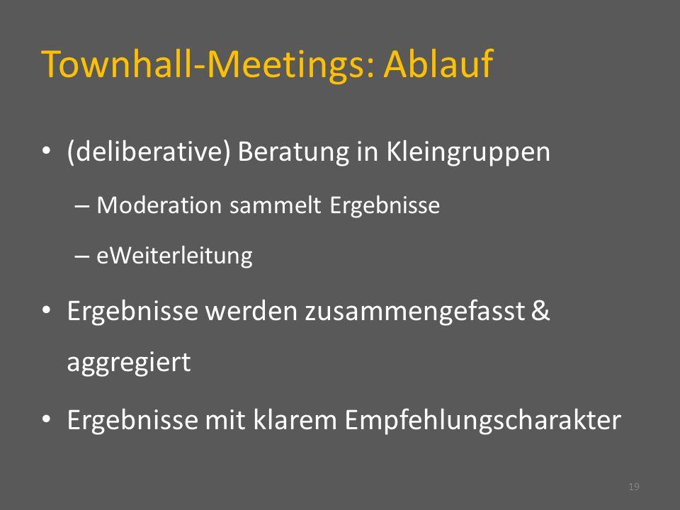 Townhall-Meetings: Ablauf 19 (deliberative) Beratung in Kleingruppen – Moderation sammelt Ergebnisse – eWeiterleitung Ergebnisse werden zusammengefasst & aggregiert Ergebnisse mit klarem Empfehlungscharakter