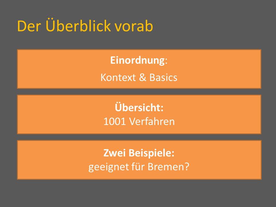 Der Überblick vorab Einordnung: Kontext & Basics Übersicht: 1001 Verfahren Zwei Beispiele: geeignet für Bremen?