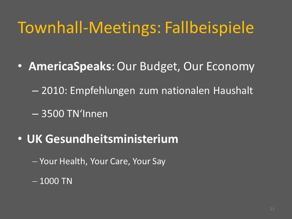 Townhall-Meetings: Fallbeispiele AmericaSpeaks: Our Budget, Our Economy – 2010: Empfehlungen zum nationalen Haushalt – 3500 TNInnen UK Gesundheitsmini