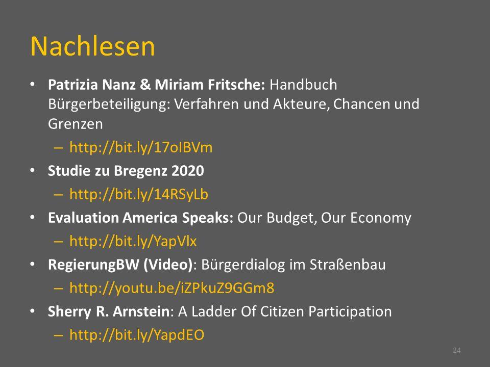 Nachlesen Patrizia Nanz & Miriam Fritsche: Handbuch Bürgerbeteiligung: Verfahren und Akteure, Chancen und Grenzen – http://bit.ly/17oIBVm Studie zu Bregenz 2020 – http://bit.ly/14RSyLb Evaluation America Speaks: Our Budget, Our Economy – http://bit.ly/YapVlx RegierungBW (Video): Bürgerdialog im Straßenbau – http://youtu.be/iZPkuZ9GGm8 Sherry R.