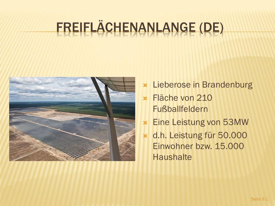 Lieberose in Brandenburg Fläche von 210 Fußballfeldern Eine Leistung von 53MW d.h.