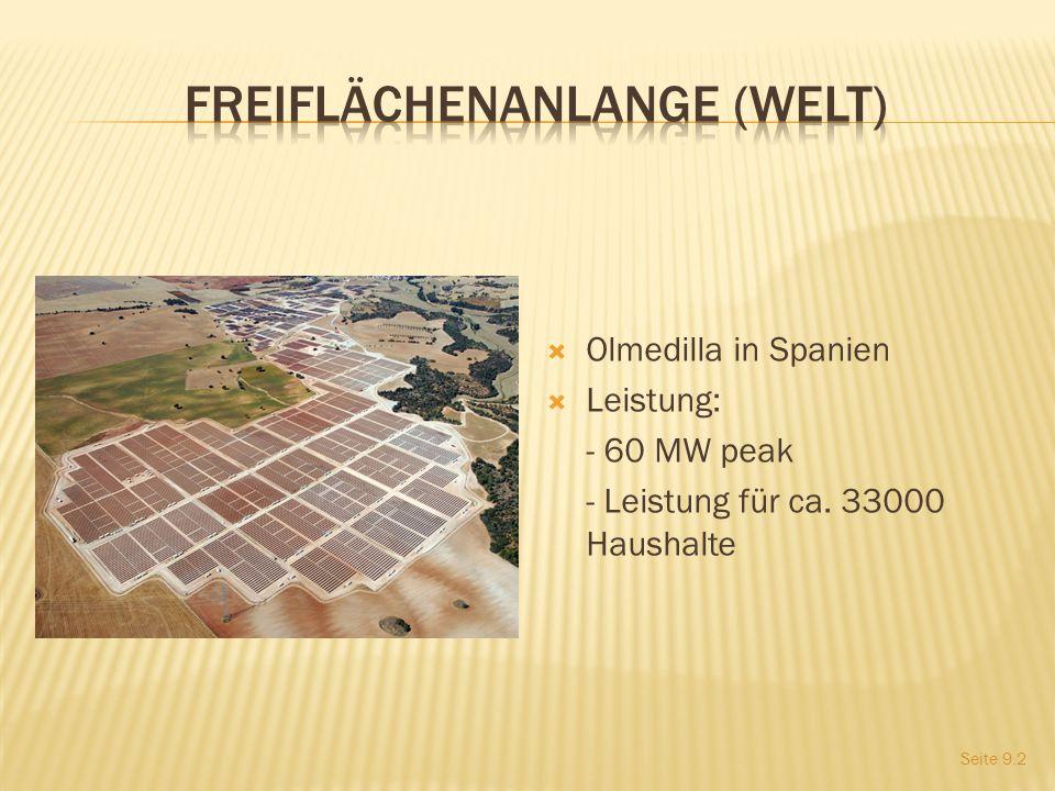 Olmedilla in Spanien Leistung: - 60 MW peak - Leistung für ca. 33000 Haushalte Seite 9.2